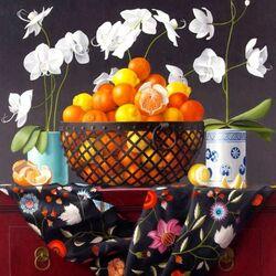 Пазл онлайн: Натюрморт с орхидеей и апельсинами