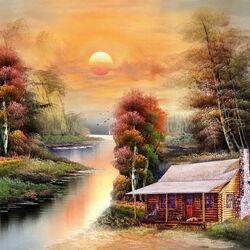 Пазл онлайн: Дом у реки