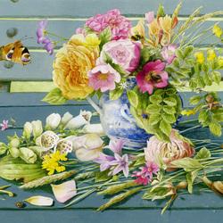 Пазл онлайн: Букет цветов на скамейке