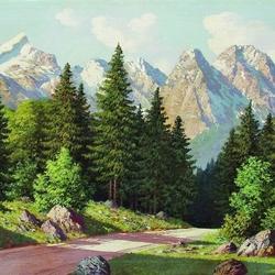 Пазл онлайн: Горный пейзаж