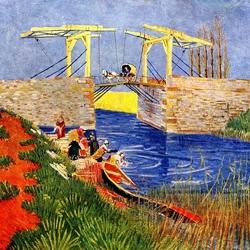 Пазл онлайн: Мост Ланглуа в Арле и стирающие женщины