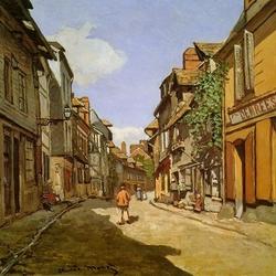 Пазл онлайн: Деревенская улочка в Нормандии около Онфлера