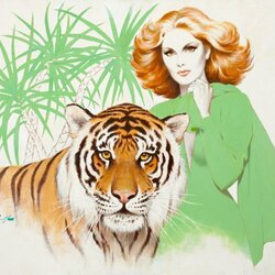 Пазл онлайн: Девушка и тигр