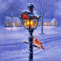 Пазл онлайн: Кардинал и зимний фонарь