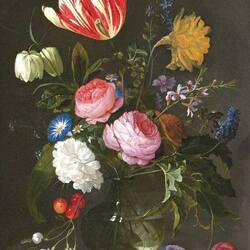 Пазл онлайн: Букет с полосатым тюльпаном