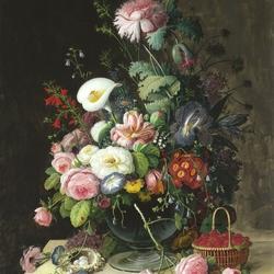 Пазл онлайн: Цветочно-фруктовый натюрморт