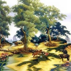 Пазл онлайн: Под сенью деревьев