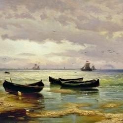 Пазл онлайн: Взморье. Рыбацкие лодки