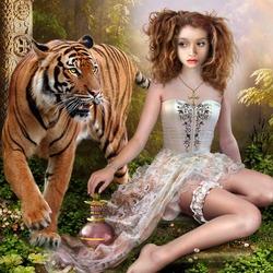 Пазл онлайн: Девочка и тигр