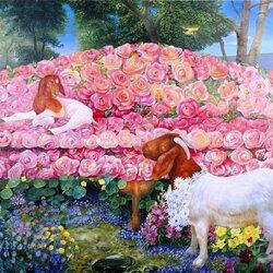Пазл онлайн: Козы и Розы