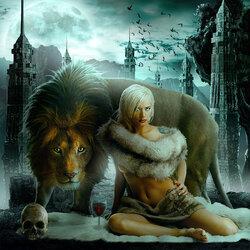 Пазл онлайн: Девушка и зверь
