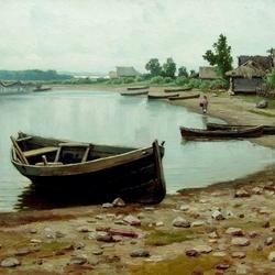 Пазл онлайн: Речной пейзаж с лодками