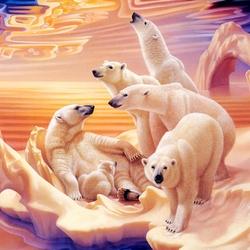 Пазл онлайн: Белые медведи