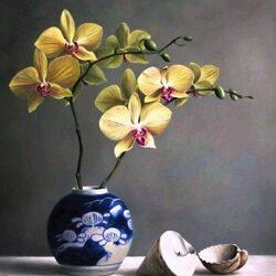 Пазл онлайн: Желтая орхидея