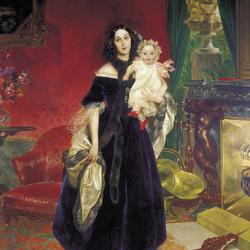 Пазл онлайн: Портрет Марии Аркадьевны Бек с дочерью