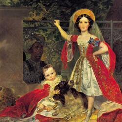 Пазл онлайн: Портрет детей Волконских с арапом