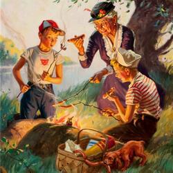 Пазл онлайн: Бабулин пикник