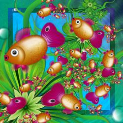 Пазл онлайн: Хоровод золотых рыбок