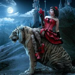 Пазл онлайн: Девушка на тигре