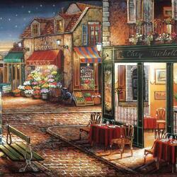 Пазл онлайн: Ночной ресторанчик