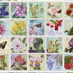 Пазл онлайн: Винтажные почтовые марки