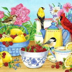 Пазл онлайн: Малина и лимоны