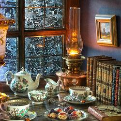 Пазл онлайн: Вечернее чаепитие зимой
