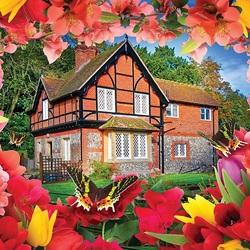 Пазл онлайн: Дом в цветочной рамке