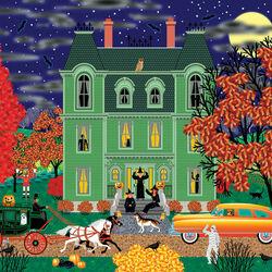 Пазл онлайн: Зеленый дом в Хэллоуин