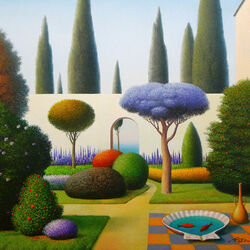 Пазл онлайн: Сад с цветущими деревьями