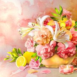 Пазл онлайн: Натюрморт с лилиями и лимоном