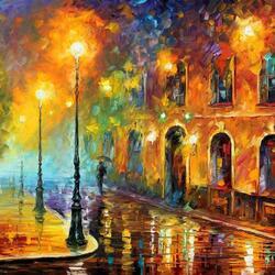 Пазл онлайн: Ночной дождь