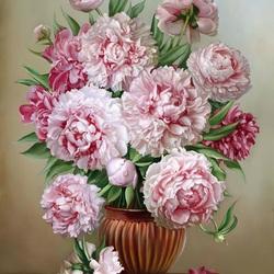 Пазл онлайн: Букет розовых пионов