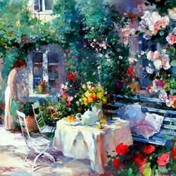 Пазл онлайн: Цветы во дворе
