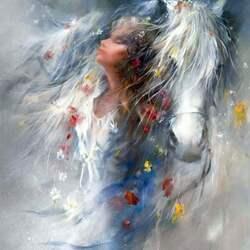 Пазл онлайн: Девушка и лошадь