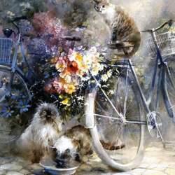Пазл онлайн: Кошки и велосипеды