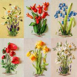 Пазл онлайн: Вышитые цветы