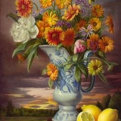 Пазл онлайн: Букет цветов и лимоны