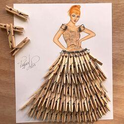 Пазл онлайн: Платье из прищепок