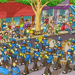 Пазл онлайн: Парад в городке
