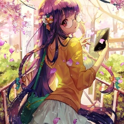 Пазл онлайн: Среди цветущей сакуры