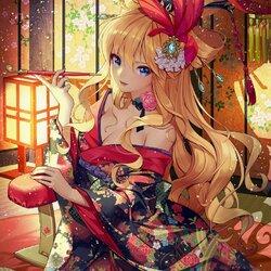 Пазл онлайн: Девушка в кимоно