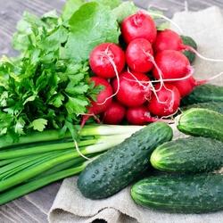 Пазл онлайн: Свежие овощи
