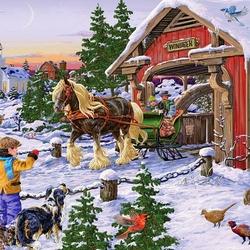 Пазл онлайн: Зимний транспорт