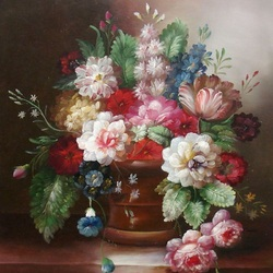Пазл онлайн: Букет в керамической вазе