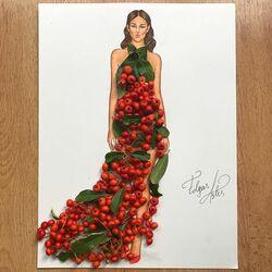 Пазл онлайн: Платье из рябины