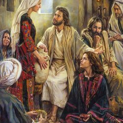 Пазл онлайн: У ног Иисуса