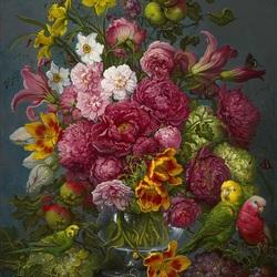 Пазл онлайн: Букет цветов и попугаи