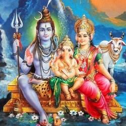 Пазл онлайн: Шива, Парвати и Ганеша