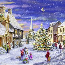 Пазл онлайн: Рождественская деревня